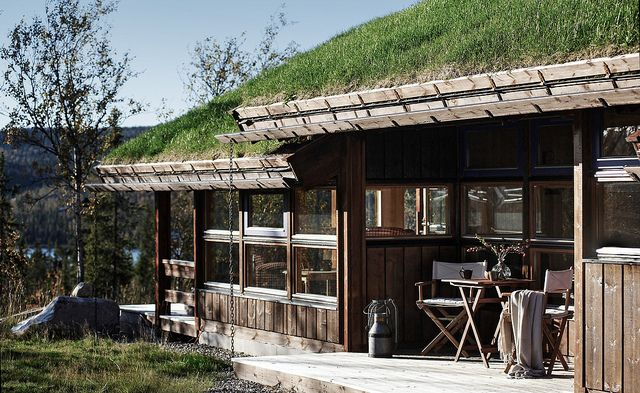 Klassisk Hedda-hytte med torv