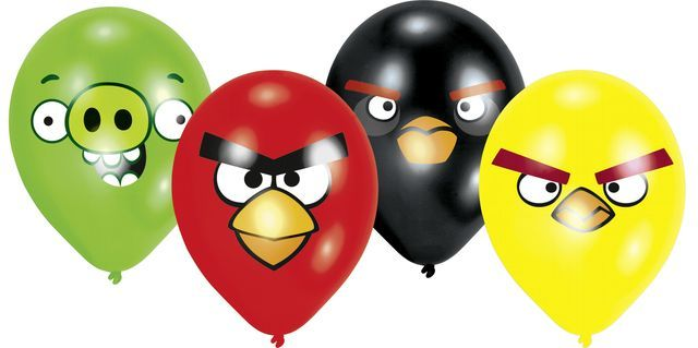 Balony baloniki na Urodziny Angry Birds 8 szt.