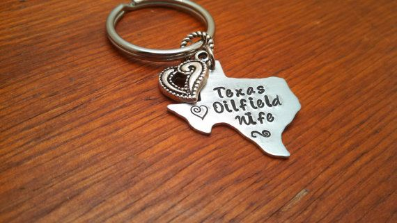 "Handstamped Texas Key chain oilfield. ""Texas Oilfield Wife"" on Etsy, $14.00"