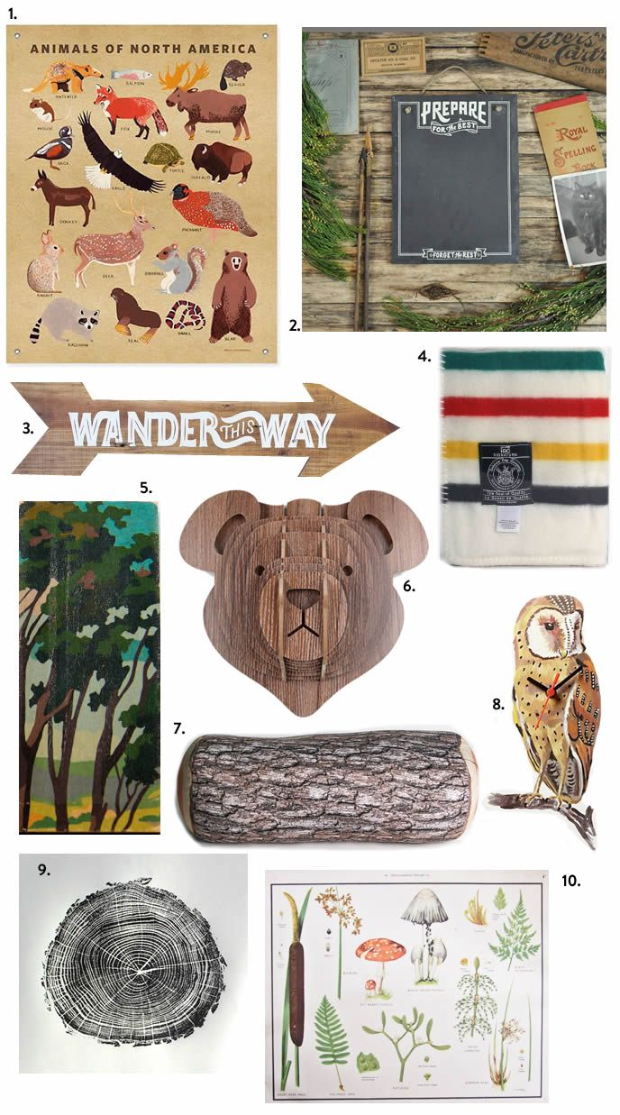For a kids bunk room...Aubrey & Lindsay's Little House Blog: cabin themed decor finds. Outdoors theme for Ellis