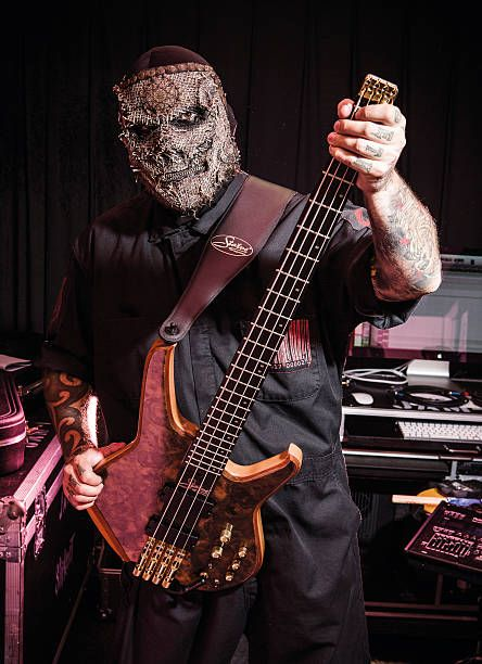 Bassist Alessandro Venturella of American heavy metal group Slipknot photographed backstage at Download Festival on June 12 2015