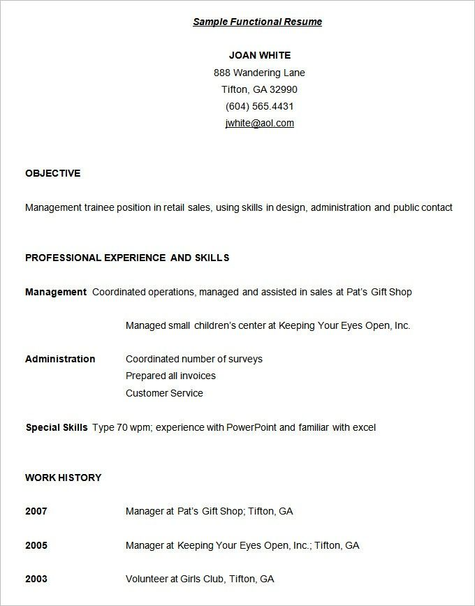The Best Ideas For Functional Resume Format Functional Resume