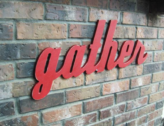 Red Gather Sign - Wood Wall Decor - Family Room - Kitchen - 28 X 12