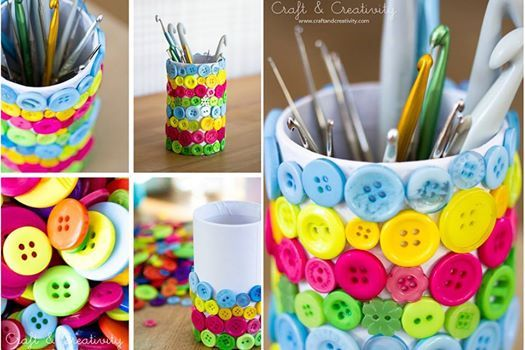IDEE: Nasturii se pot nu doar coase, ci și lipi! Selectați-i în funcție de culoare și ornați alături de cei mici cutia în care își țin creioanele colorate, spre exemplu.