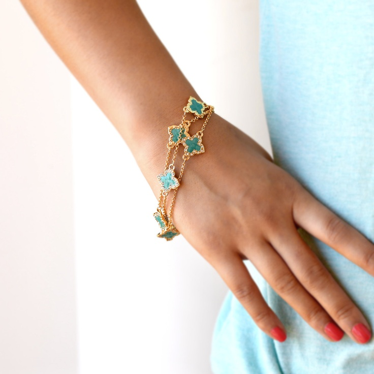 Gorgeous cubic zirconia clover bracelets inspired by Van Cleef and Arpels but for a fraction of the price. Only $19.99 at http://www.premiumcz.com/collections/bracelet/products/clover-bracelet-with-aqua-and-premium-cz  #premiumcz #cubiczirconia #designerinspired #vancleef #vancleefandarpels #bracelets #CZbracelet