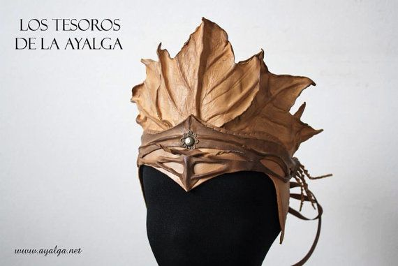 Autumn crown • Leather leaves crown • woodland fairy crown on Etsy