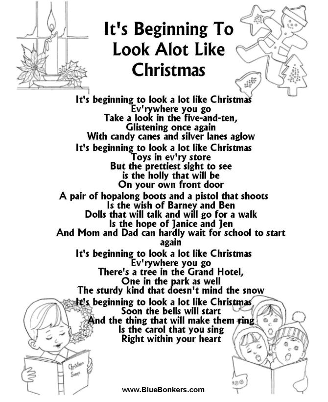 its beginning to look a lot like christmas free printable christmas carol lyrics sheets favorite christmas song sheets - Best Christmas Lyrics