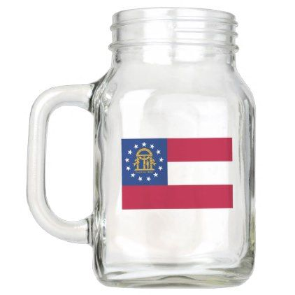 Patriotic Mason Jar with Flag of Georgia USA - trendy gifts cool gift ideas customize