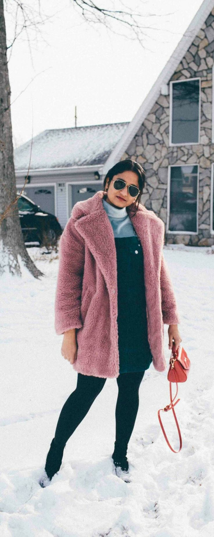 Best of Presidents Day Sales 2018 | dreamingloud.com --------------------------------------------Suede overall dress, asos pinafore dress, teal overall dress, velvet mock tee, topshop faux fur coat, teddy coat, pink coat, pink fut coat, winter outfit ideas, cute winter layering, chic winter outfits, snow outfits, lulu Guinness lip bag, black heel booties