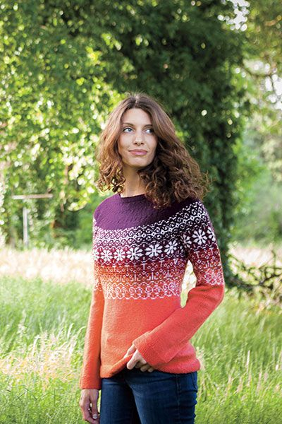 Gorgeous gradient fair isle sweater designed by Katy Banks. Knitting pattern at www.knitpicks.com