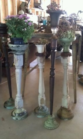 Spindle plant stands...cute for the patio!
