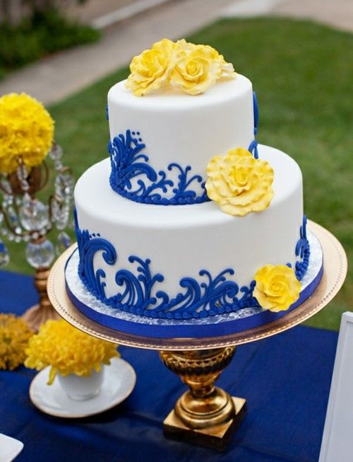 Gorgeous Cake Decortated In Blue, Yellow White . Luv The Damask Design In  Royal Blue And The Fluffy Yellow Flowers .