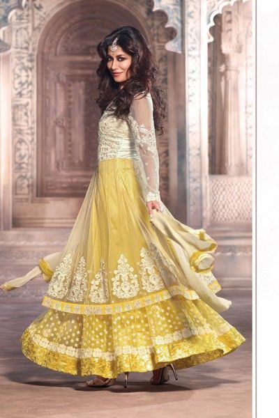 Chitrangada Singh Suit-Yellow and Cream Net #Anarkali #Suit with Embroidered and Lace Work - Rs. 6,999. #zohraa