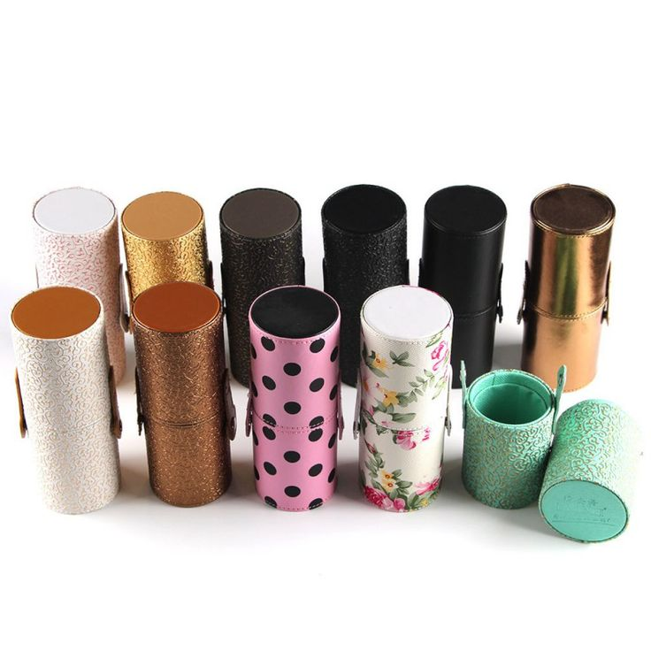 New Empty Portable Makeup Brush Round Pen Holder Cosmetic Tool PU Leather Cup Container Solid Colors 6 Optional Case L4 WY5