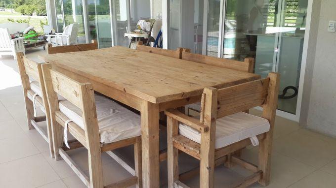 mesa de comer con bancos para exterior mariana a pedido