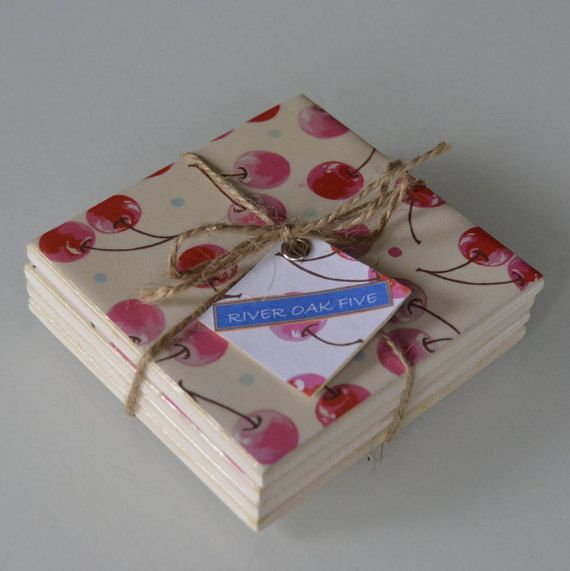 Hand-crafted Ceramic Tile Coaster Cherries by RiverOakFive