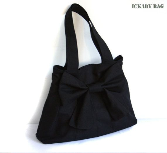 €24.67 SALE  Black Canvas Bag with Big Bow / Pleated Purse / by ickadybag,