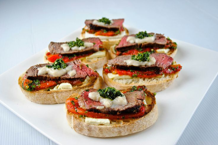 Beef Roasted Pepper Open Sandwiches