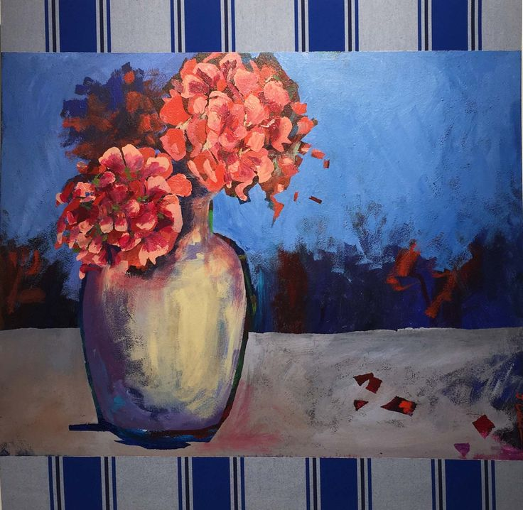 """Marg's Geranium"" 2015 Judy Constable. Acrylic on Awning Canvas."