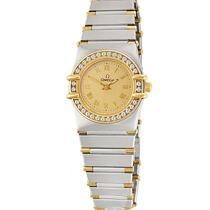 Omega Constellation - Omega  -  Ladies Omega Constellation in 18k & stainless steel with diamond bezel. Quartz. With box and papers. Fine Pre-owned Omega Watch. Fine Luxury Watches