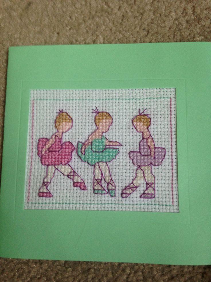 Cross stitch little ballerinas card