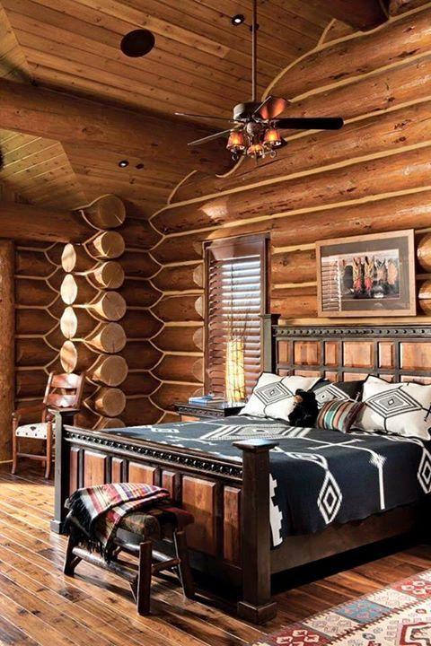 Log cabin themed bedroom