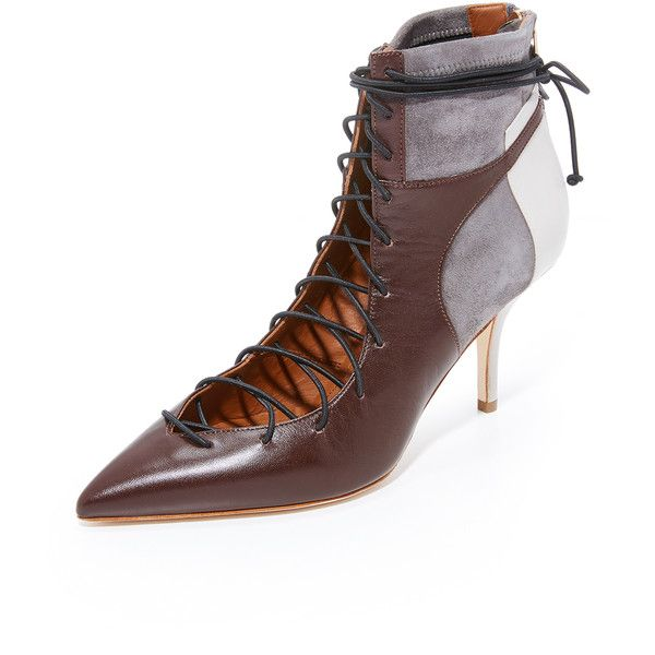 Malone Souliers Montana Booties ($820) ❤ liked on Polyvore featuring shoes, boots, ankle booties, lace up boots, leather lace up boots, zipper boots, pointy toe boots and block-heel boots