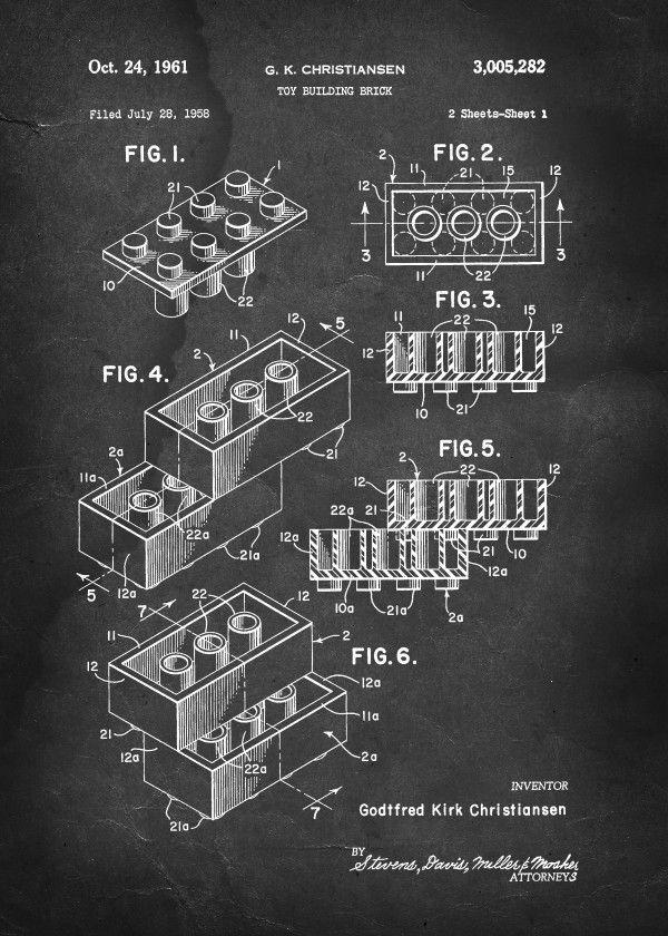 patent lego building block christiansen vintage