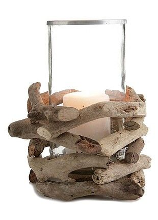 livingExclusive — By The Sea Shore — Driftwood Candle Holder With Glass