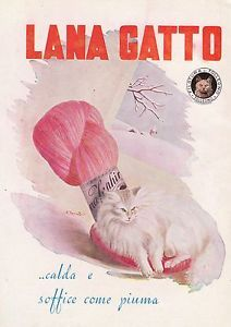 PUBBLICITA-LANA-GATTO-FILATURA-DI-TOLLEGNO-GOMITOLO-ZENHIR-CALDA-SOFFICE-1949