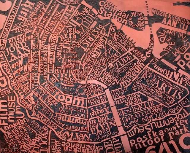 Amsterdam linocut by Mark Andrew Webber