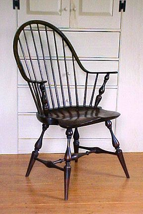Windsor chair, thought by many to be the first authentic American chair; made by wheelwrights.
