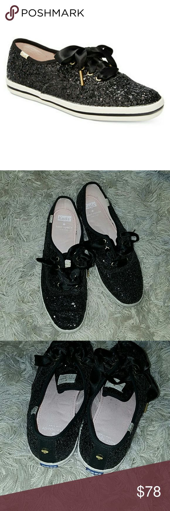Kate Spade Glitter Black Keds Sold Out Size!! Gorgeous shoes in excellent used condition.  AB kate spade Shoes Sneakers