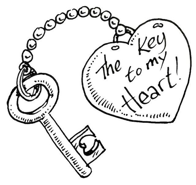 Key With Loved Holder Coloring Sheet Cute Drawings Of Love Drawings For Boyfriend Valentines Day Drawing