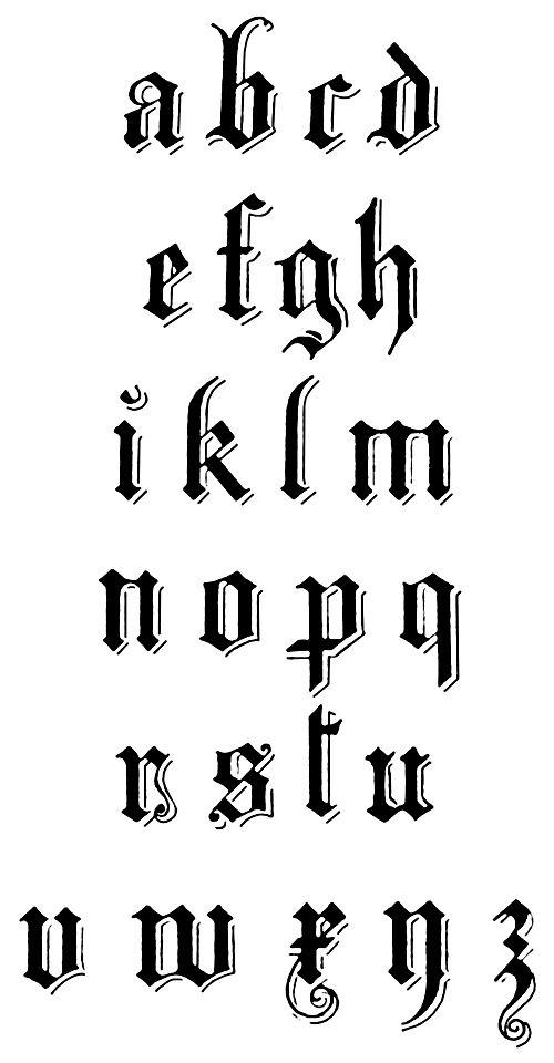 Gothic Alphabet :: Durer 16th Century Gothic - Lower Case