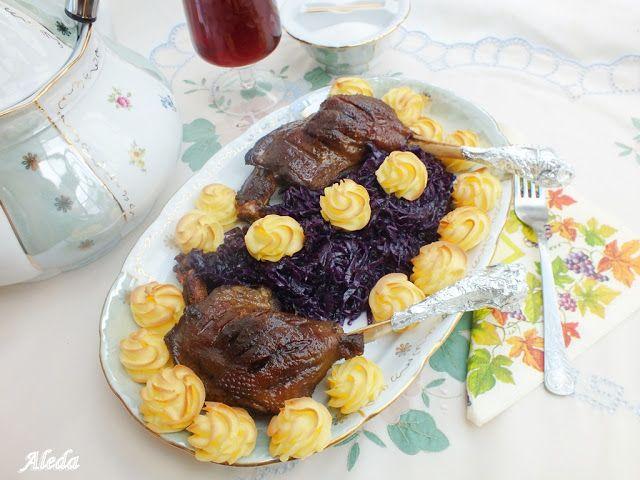 Aleda konyhája: Vörösboros libacomb lilakáposztával és hercegnőburgonyával