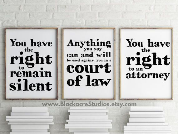 Miranda Warning Print Set - Gift Pack - Lawyer Gifts - Office Decor - Law School Gifts - Law Office Gifts - Famous Legal Phrases