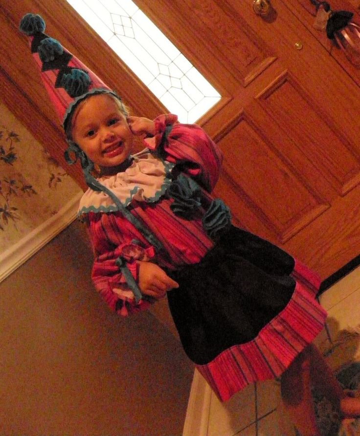 Girls CLOWN Costume Size 4/6 Handmade three piece skirt top hat OOAK Pink/Navy #Handmade #Skirt