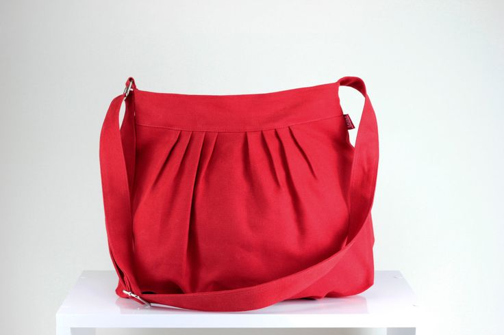 $37  Red Bag Fully Lined Purse Bag Pleated Bag Washable Shoulder Crossbody Use Gift Idea Daily Use Bag Canvas Bag Vegan Different Color Avaiable by hippirhino