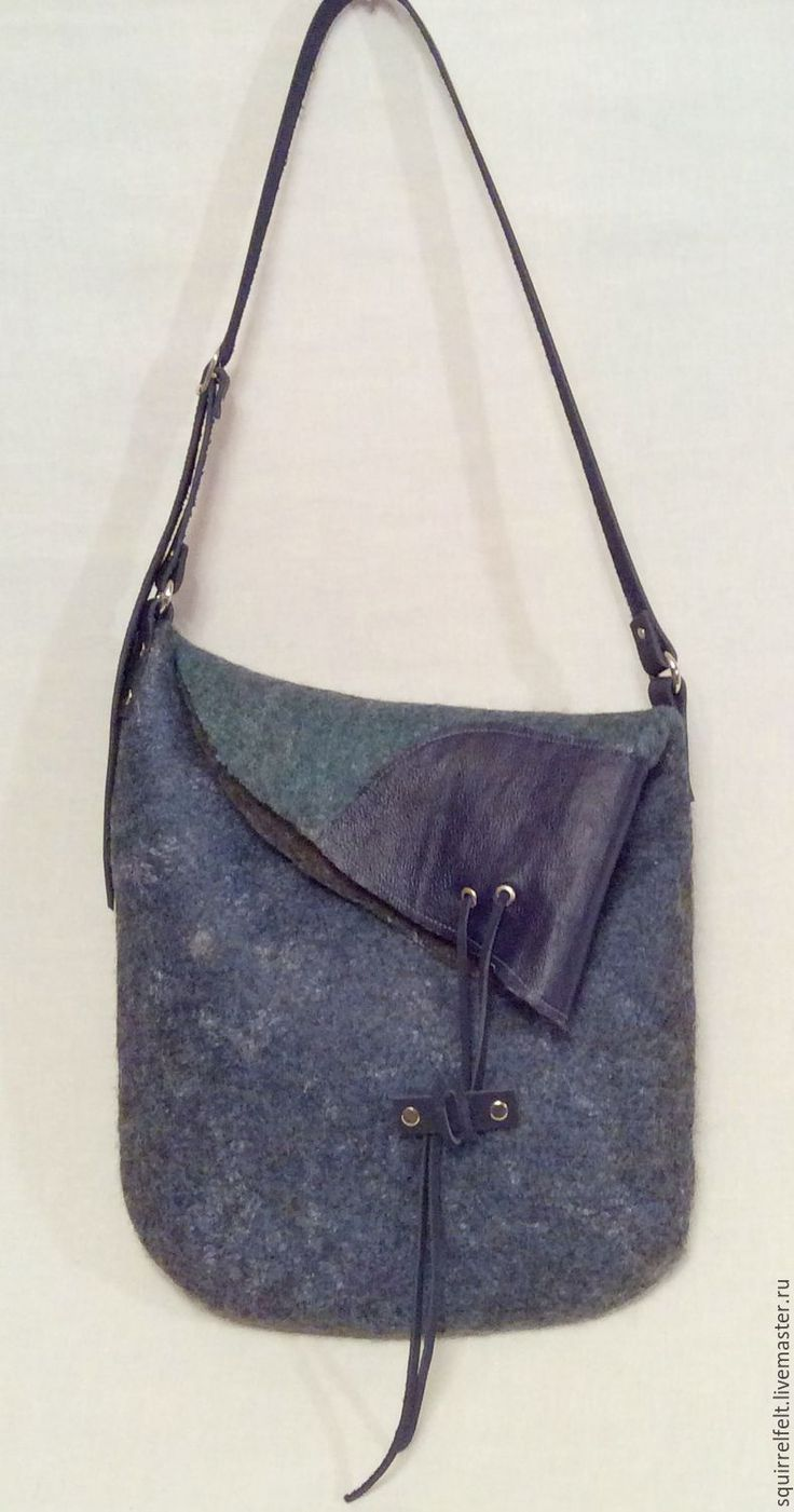 Купить Валяная сумка Асимметрия-3 - морская волна, валяная сумка, Валяние, Мокрое валяние