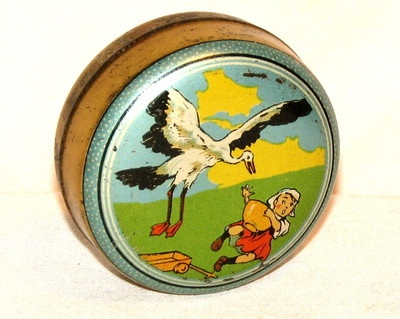 """'Grandmother Sibble, storks on your candy tin!'"" (1920s Dutch candy tin)  Get more free enrichment and homework resources for The Wheel on the School by Meindert DeJong (1954) at www.LitWitsWorkshops.com. Perfect for classrooms, after-school clubs, and homeschool co-ops!"
