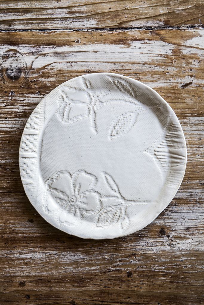 Vecchi Pizzi embroidered handmade side plate - €26.00. #handmade http://www.dishesonly.com/products/vecchi-pizzi-side-plates