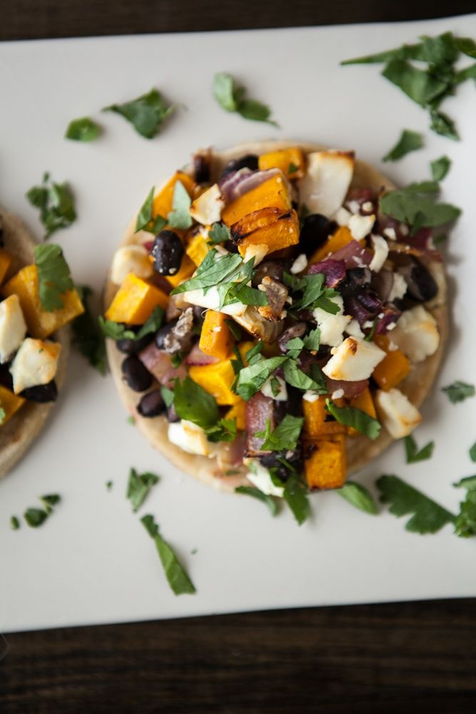 Butternut Squash and Black Bean Tostadas with Goat Cheese