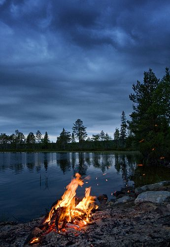 Midsummer & midnight in Finland. Via flickr