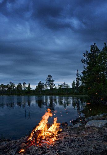 Midsummer & midnight in Finland. Via flickr