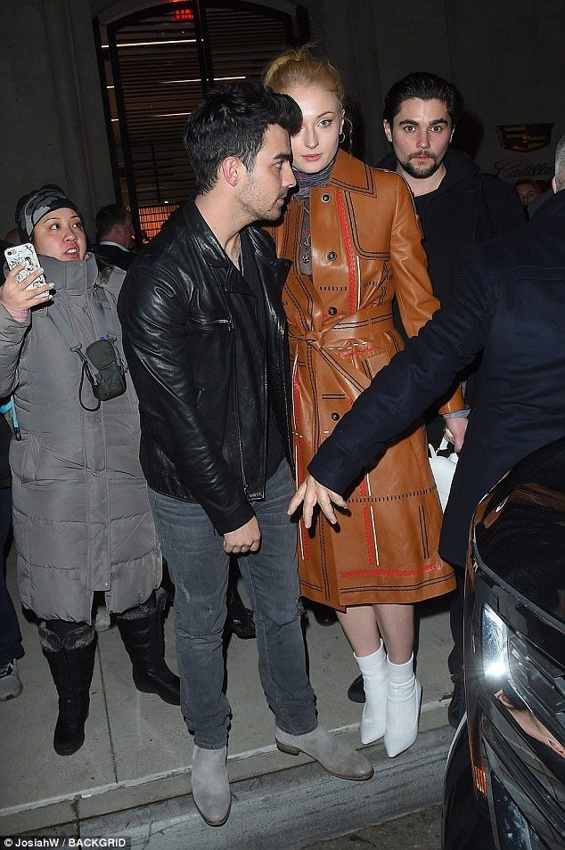 Sophie Turner cosies up to Joe Jonas after Grammy party  They are planning to tie the knot when Sophie Turner wraps up her Game of Thrones filming.  And the actress 21 cosied up to her fiancé Joe Jonas 28 when they left the Republic records party together in New York on Friday for Grammy weekend.  It is no surprise the Game of Thrones star and her older musical beau were inseparable on the glitzy night as they are rarely seen without each other.  Scroll down for video  Hitting all the right…