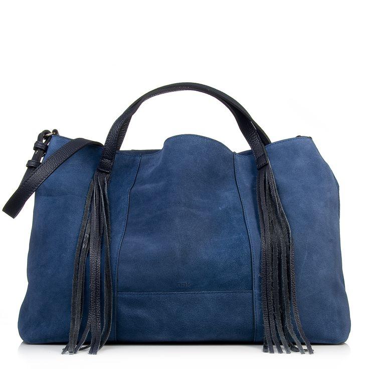 Nak shoes blue suede fringe bag