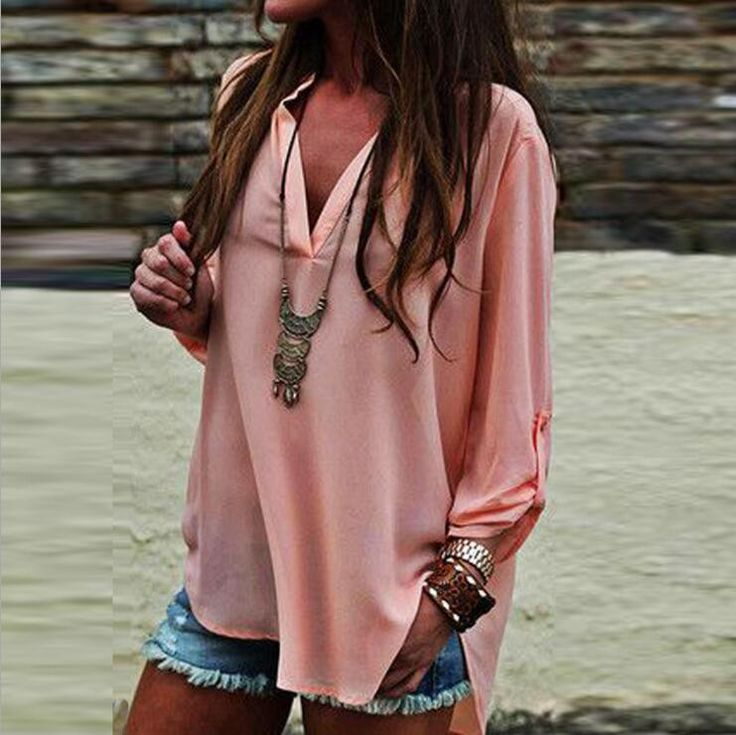 Fashion Sexy V-Neck Chiffon Loose T-Shirt