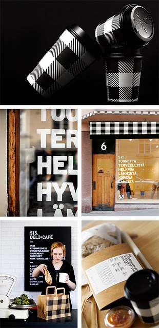 how i wanna wake up to this every morning! Scandinavian deli+ cafe called sis. #design #packaging #gingham