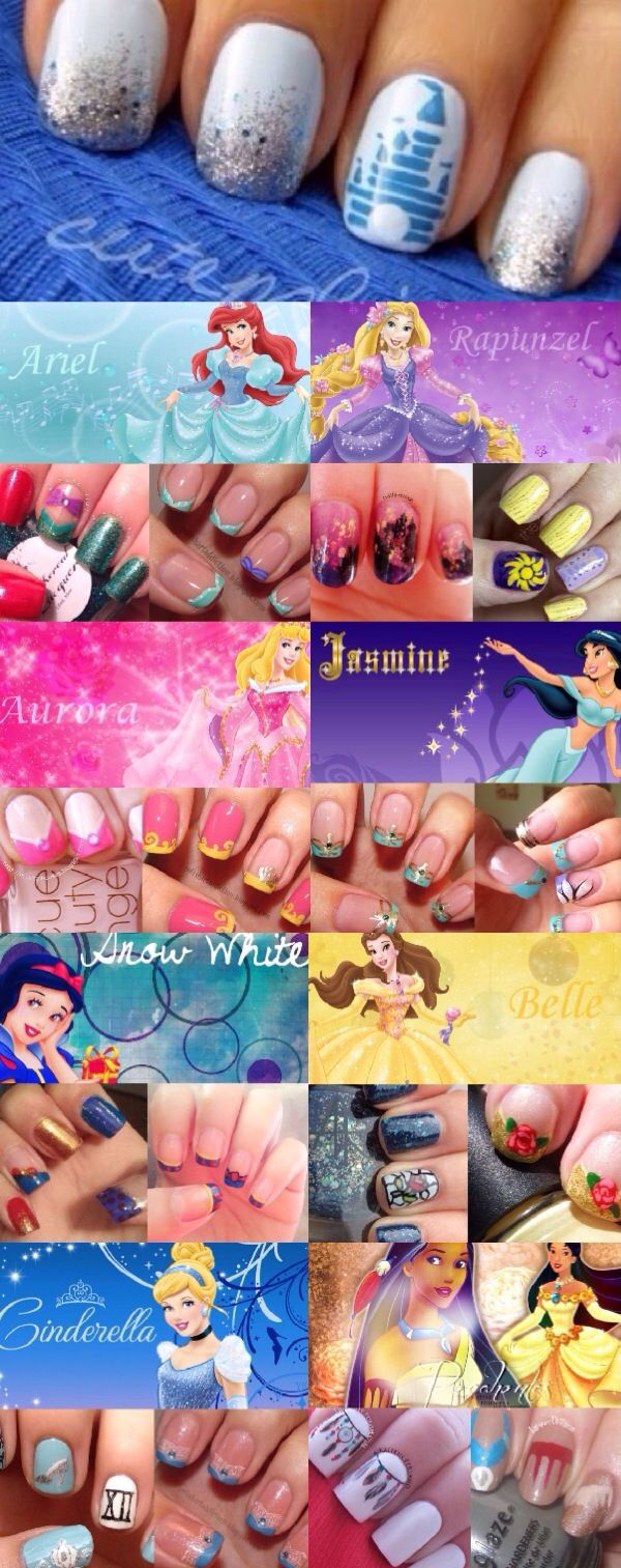 Disney Princess Inspired Nail Art. If I ever get better at nail art, I'd totally do something like these